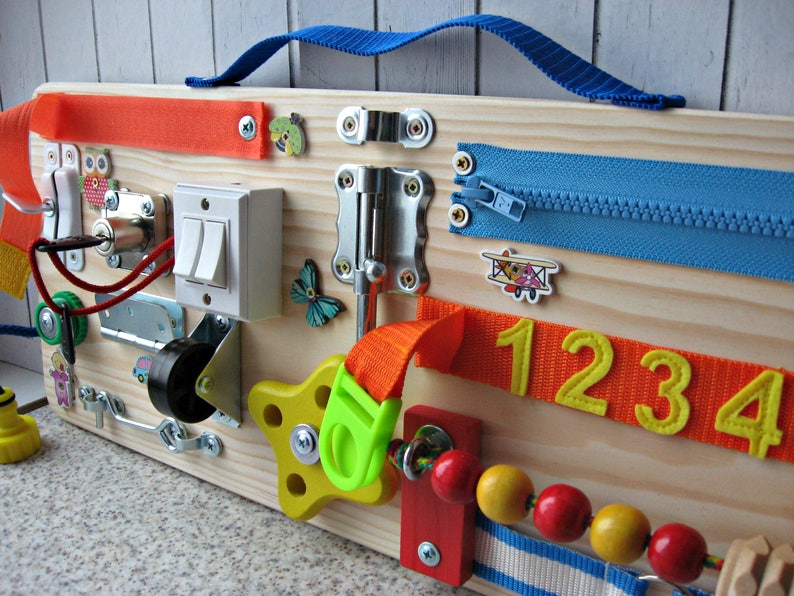 Busy Board  20 x 50 cm 8 x 20 inches Toy for toddler image 0