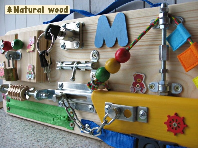Personalized busy Board Small boat Toy for toddler Sensory image 1