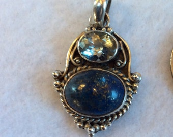 Sterling Silver Pendant with Lapis and Blue Topaz