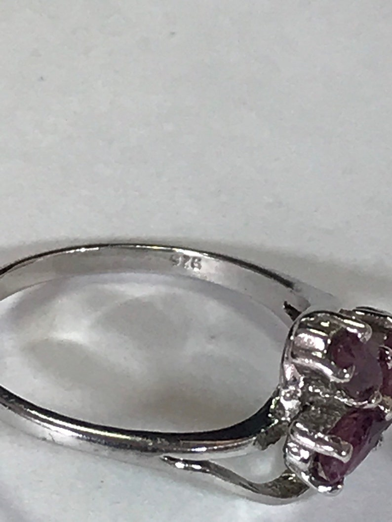 Sterling Silver Ring with Three Marquise Rubies Size 5.5
