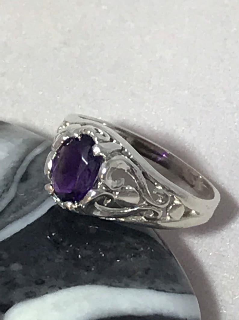 Vintage Genuine Amethyst Sterling Silver Ring Size 6
