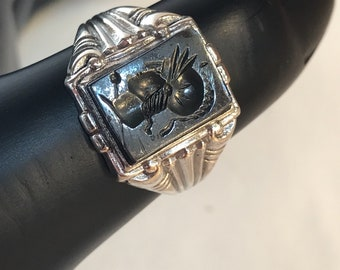 Vintage Hand Carved Roman Soldier on Hematite Stone Sterling Silver Ring Size 10.5