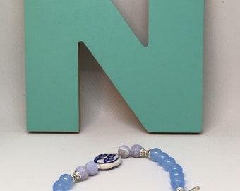 Blue Lace Agate Chalcedony Floral Bracelet