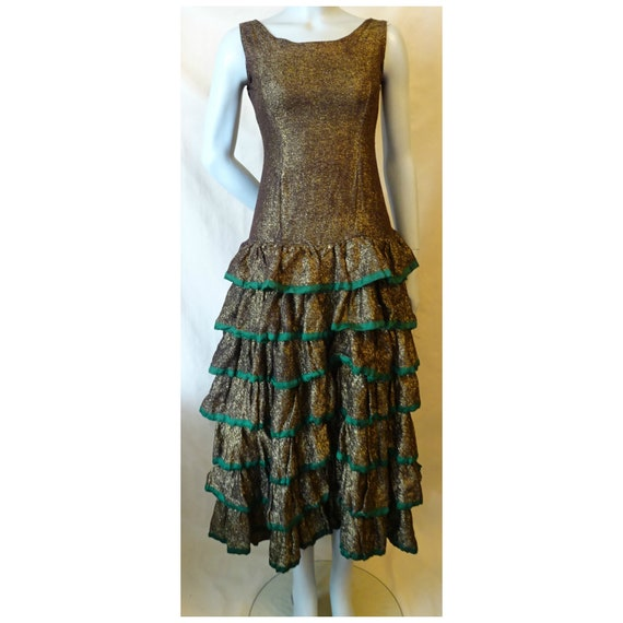 AS-Is Antique 1920s/20s 1930s/30s Gold RUFFLE DRES