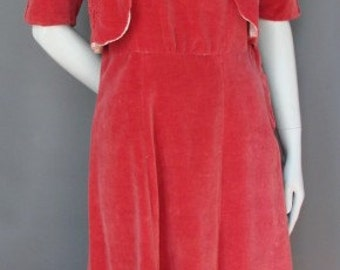 Vintage 1930s/30s Velvet DRESS Antique Art Deco