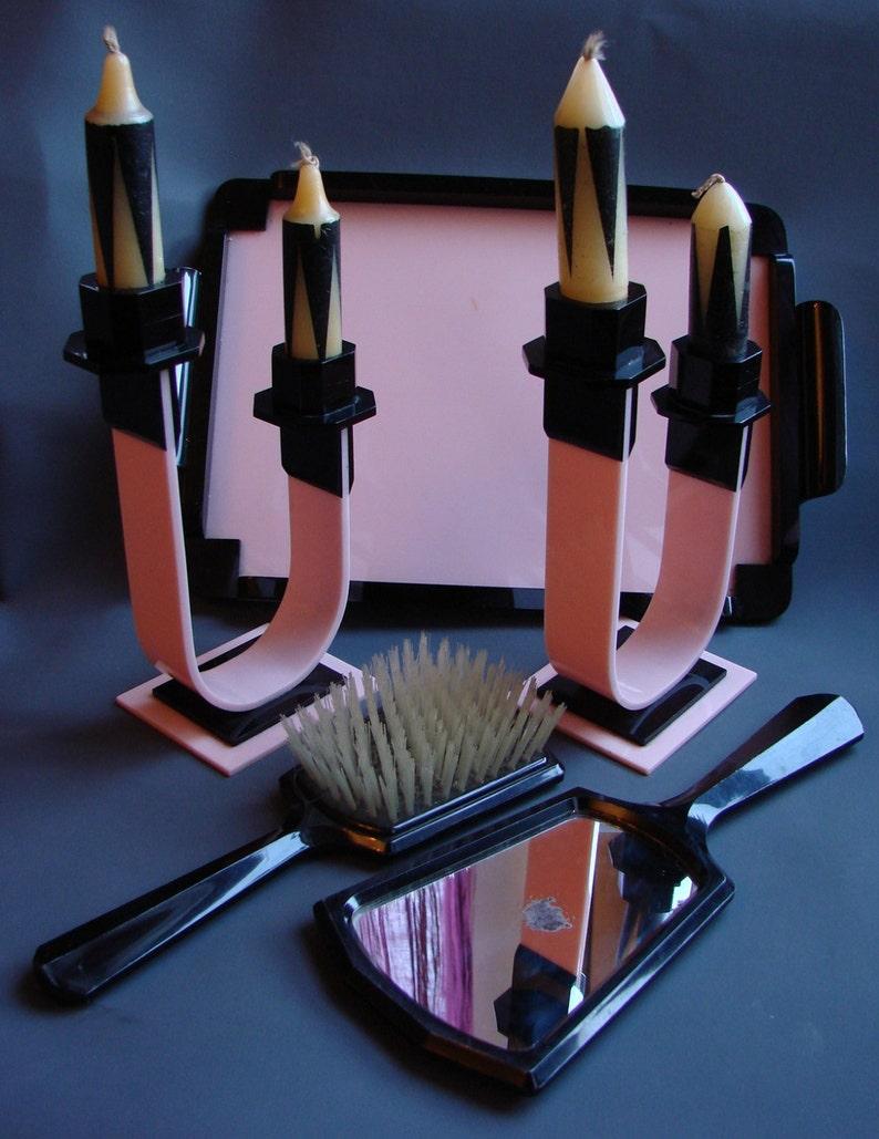 Antique 1920s 1930s 20s 30s Art Deco Pink Dressing Table Set Etsy
