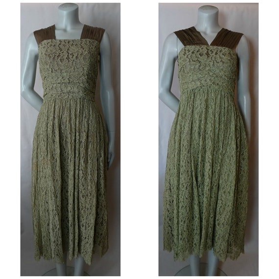 Vintage 1930s/30s 1940s/40s GREEN LACE DRESS Weddi