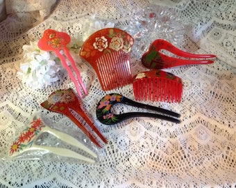 Vintage  TAIWAIN Hair Comb,Fork ,Hand Painted Hair Collection,Japenese Kanzashi combs