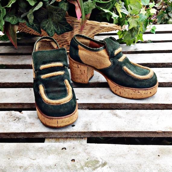 60's SUPER FUNKY PLATFORM Shoes,Green suede,cork ,