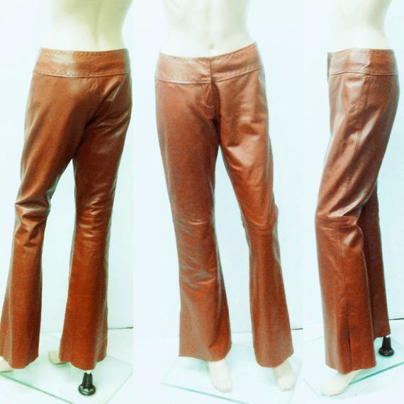 VINTAGE LEATHER PANTS,Low rise,biker,hippie ,bell
