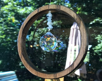 Crystal crescent moon shaped sun catcher #30  with octagonal crystal accents Sun catchers for windows Window decor moon shaped mobile