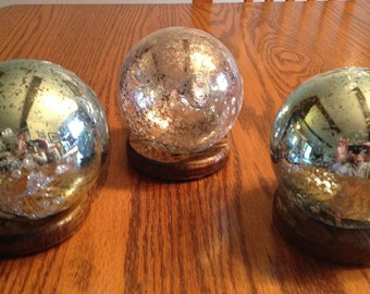 """SHINY BRASS   METAL DISPLAY STAND  3/"""" TO 6/""""  SPHERE   ball  rock"""