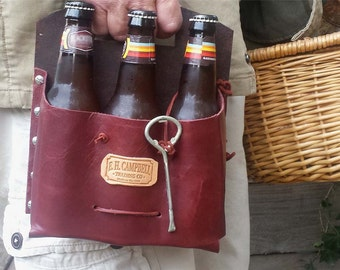 Leather 6 Pack Beer Carrier Handmade in the USA with USA Leather! Christmas Gift, Father's Day Gift, Craft Beer Holder
