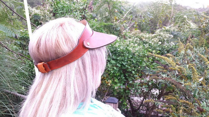 Leather Visor for Men or Women Father and even Gift for a Boyfriend Handmade Custom Leather for Christmas gift or Groom Made in the USA