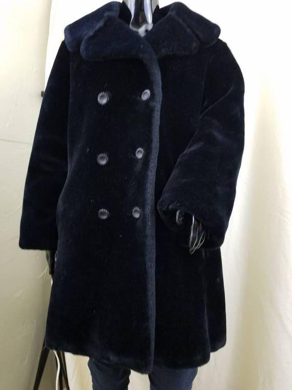 Vintage women's clothes black faux fur marshall fi
