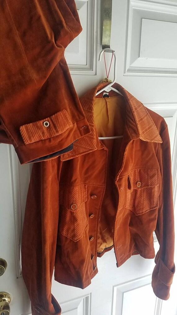 Vintage leisure suit bell bottoms mens orange velv