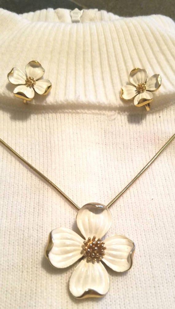 Vintage tafari jewelry set necklace earrings flowe