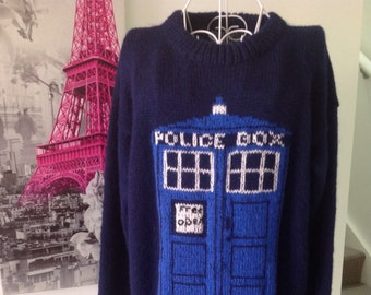 Dr. Who sweater, hand knit sweater,Tardis sweater, unisex sweater,pure wool sweater, Dr Who jumper, free shipping