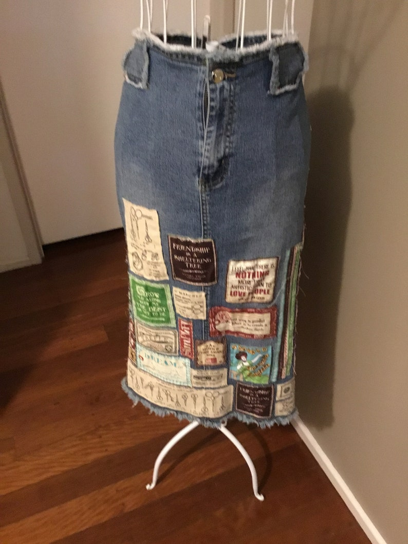 dedf39dc3882 Blaue Jeans Patchwork, Upcycling-Jeans-Rock, Recycling-Jeansrock, Frauen  Rock, Patchwork-Kleidung
