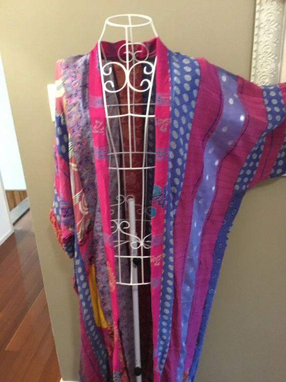 sari silk patchwork,silk duster coat womens duster coat silk patchwork kimono plus size clothing ladies duster coat Silk duster
