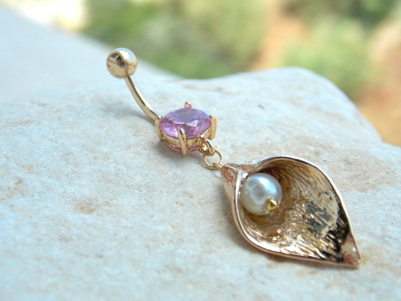 belly piercing belly ring belly button ring gold belly ring belly jewelry -belly stud Calla Lily flower belly jewelry