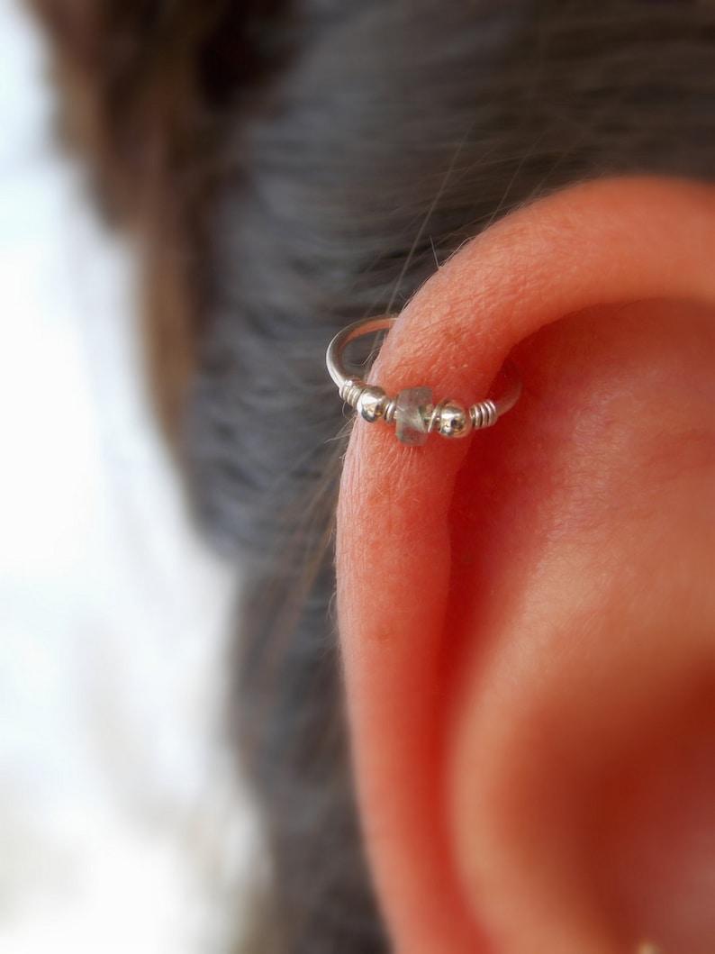 Gold Filled Nose Ring Helix Hoop -Silver Hoop -gemstone Thin Nose Ring cartilag Nose Piercing Ring Nose Ring Tiny Hoop Nose Ring