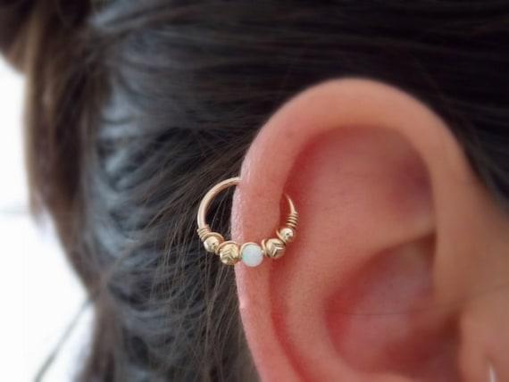 Helix Hoop Earring Cartilage Piercing Opal Conch Piercing Etsy