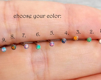 20 gauge fire opal Nose Stud -L shape nose ring- 2mm opal nose stud -Piercing Body Jewelry- tiny nostril stud