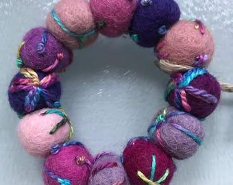 Embroidered wool felt bead bracelet