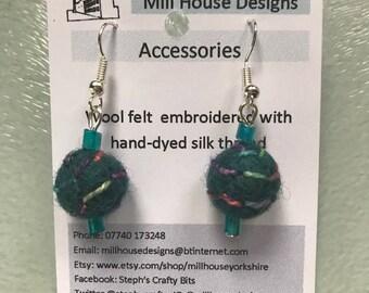 Embroidered wool felt bead earrings