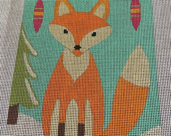 Printed 16-ct Plastic Needlepoint/Cross Sticth Fox Christmas Canvas