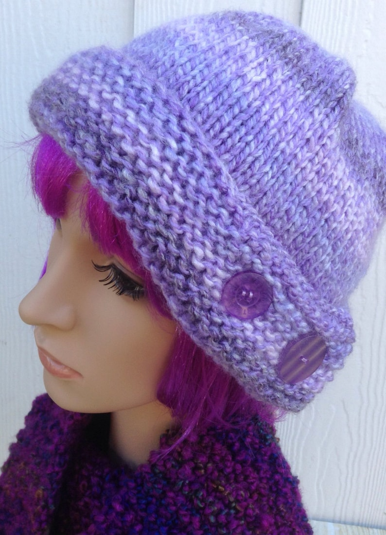 8d33e125bd9 Chunky knitted hat lilac hat warm winter hat ladies winter