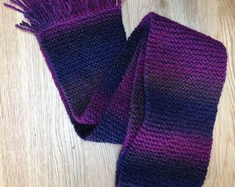 Purple chunky scarf, gift for her, purple scarf, ladies winter scarf, fashion scarf, long knitted scarf , fringed scarf