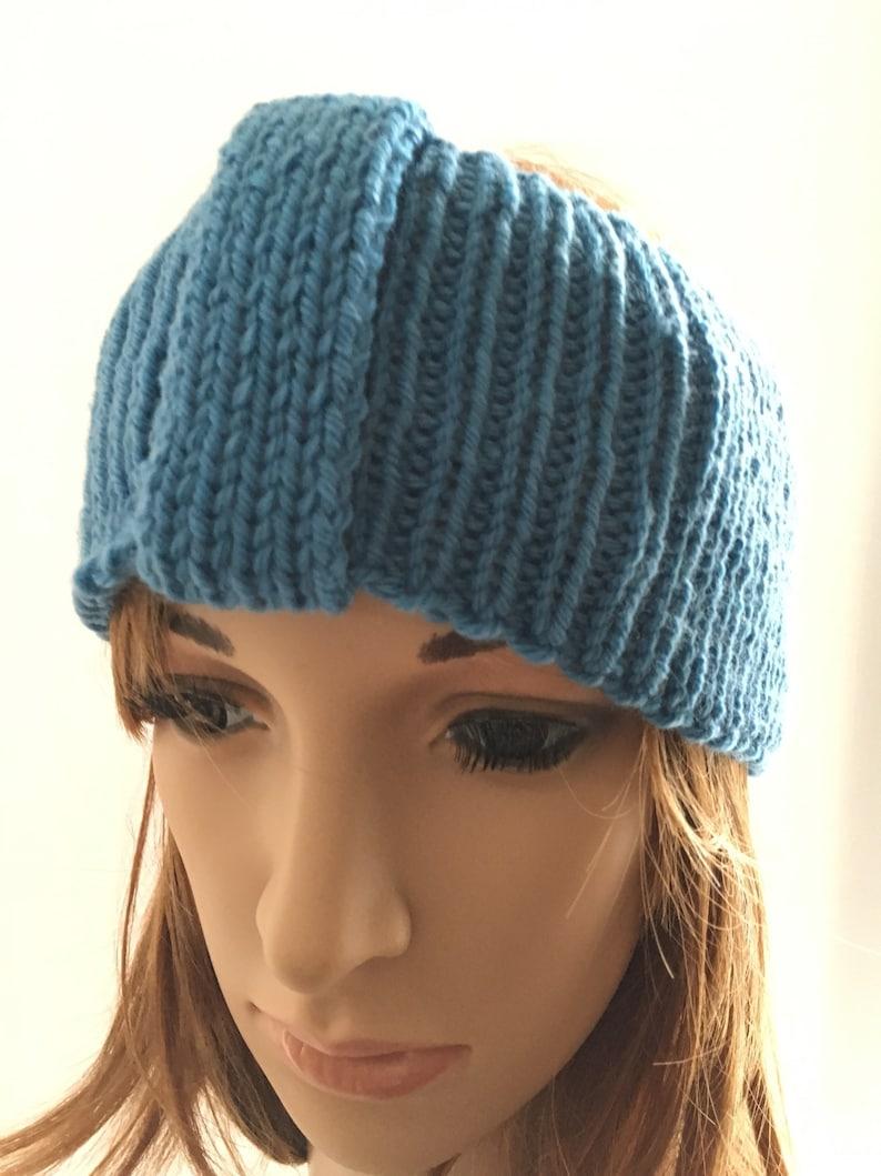 ski headband ladies hairband wide knitted headband ribbed womens headband Blue ear warmer knitted hairband