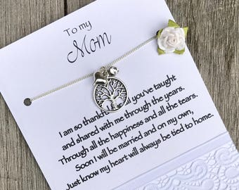 Mother of the BRIDE jewelry, Mother of the bride gift, Mom necklace, Family tree necklace Mother of the bride, Gift from bride to mom, B12a