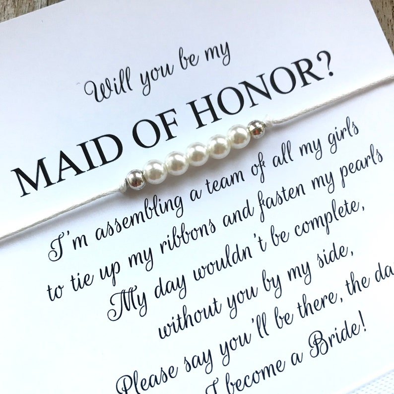 B3 Bracelets in your charm and string color on personalized invitation cards Maid of honor gifts Maid of honor bracelet Will you be my maid of honor