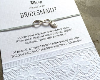 Personalized bracelet, Will you be my Bridesmaid gift, Initial charm, Wish bracelet, Ask bridesmaids,  bridesmaid gift, be my Bridesmaid ZB3