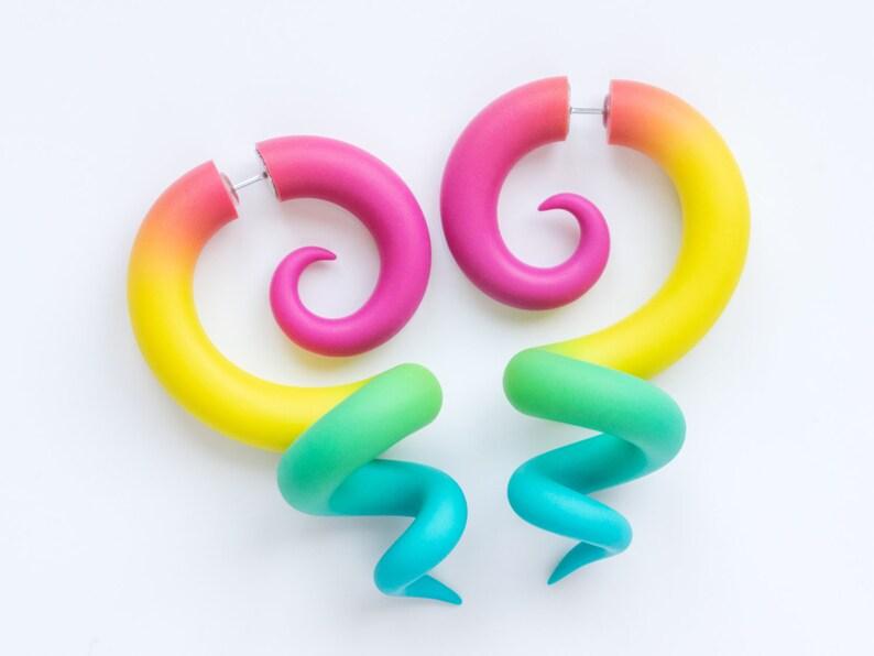 Rainbow Plugs Octopus Tentacle Earrings Rainbow Earrings Ear Plugs or Fake Plugs
