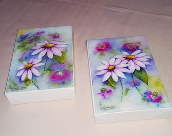 Dainty Painting of Pink Daisies. Watercolor Painting Mounted on a Gallery Type Canvas. Comes in Pair.