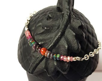 BLACK Opal bracelet - and 925 Silver chain