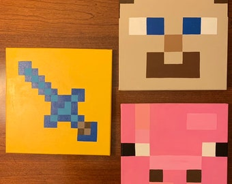 Minecraft Wall Art Decor 12x12 Canvas Creeper TNT Sword Steve Pig Ocelot