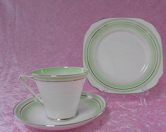 Vintage Bell China Tea Set English Bone China Tea Cup & Plate Trio Green on White with Silver 1950's  #00087