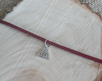 Harry Potter inspired burgundy choker necklace with a Tibetan silver deathly hallows charm - 12-15""