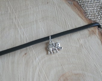 "Beautiful black choker necklace with Tibetan silver elephant charm pendant - 12-15"" - 3 style options!!"