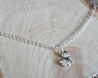 "Cute silver plated fox charm anklet 9-11"" - ankle bracelet / body jewellery"