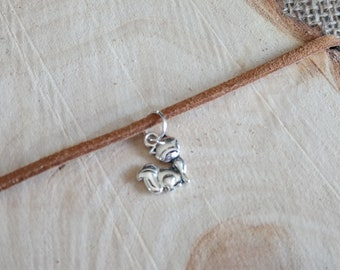 Beautiful choker necklace with Tibetan silver cute fox charm pendant - Two colours!! - boho / festival / animal