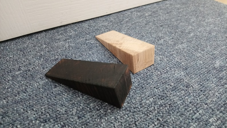 Handmade solid oak door stop  2 styles  doorstop / door image 0