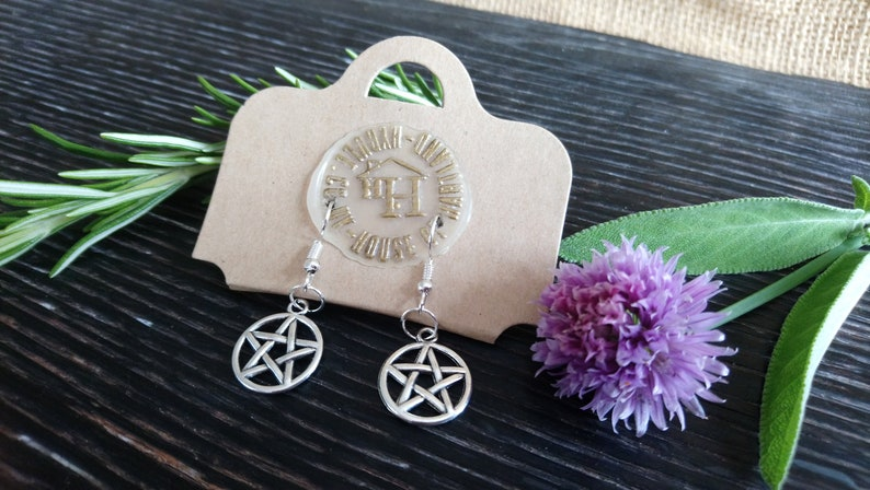 Pretty pentangle silver plated drop style earrings  dangly / image 0