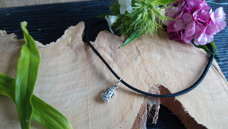 Beautiful black choker with Tibetan silver Bhudda charm image 0