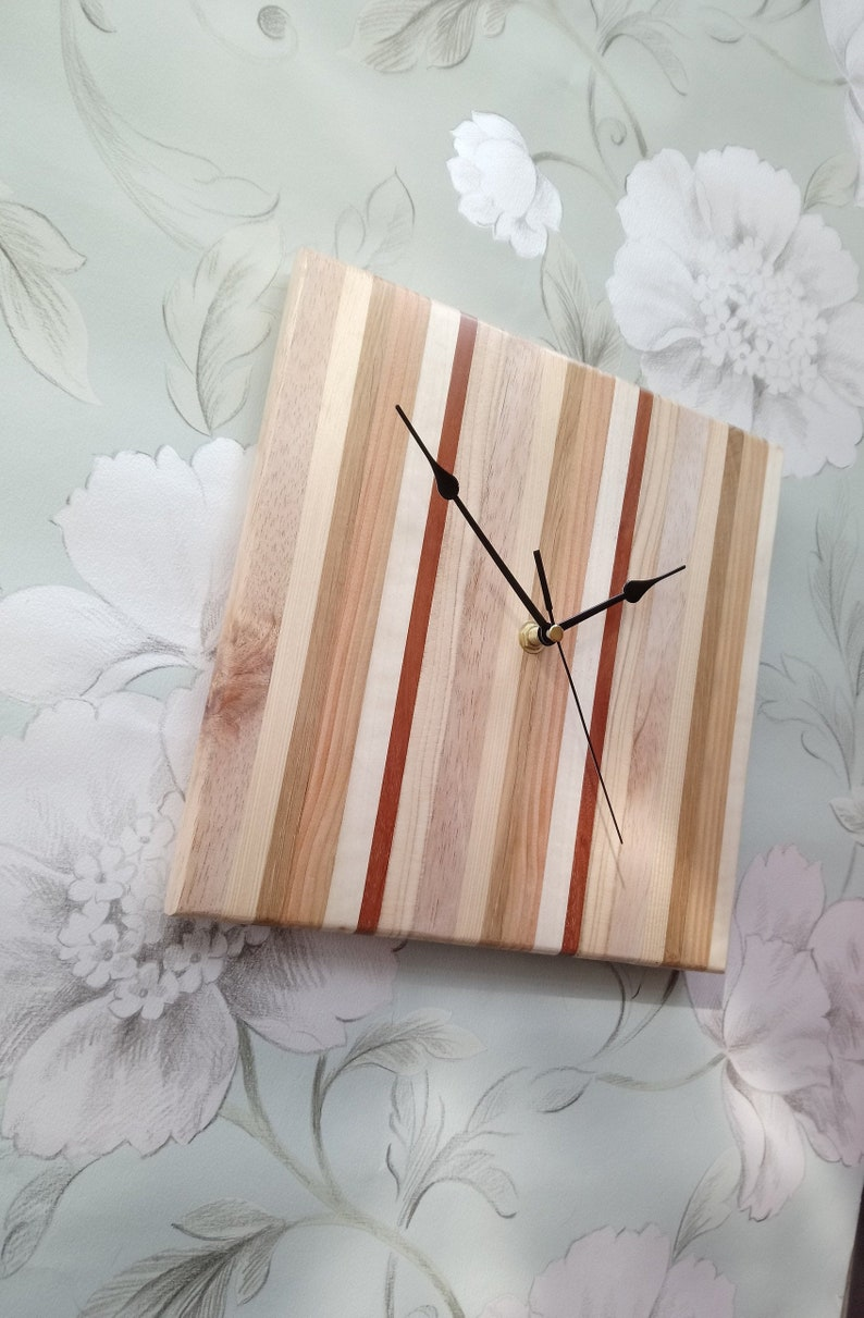 Unique reclaimed mixed wood square clock with black hands  image 0
